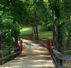 Small one-way red bridge in wooded area