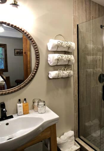 Willow guest bath, walk-in shower with glass door, white vanity sink and oval mirror
